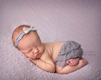 Bow Headband, Headband, Grey Headband, Grey Bow Headband, Newborn Skirt, Newborn Ruffle Skirt, Photography Prop, Photo Prop, Baby Headband
