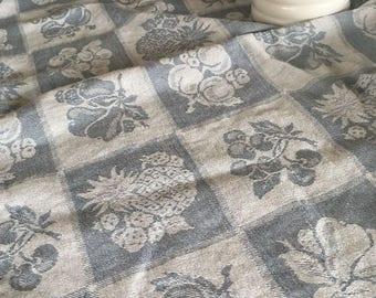 Vintage Linen and Cotton Blend Blue Tablecloth