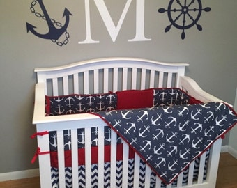 TODAY SALE***Navy Anchor/Chevron and solid color 4 piece Full Crib bedding set made to order!!!