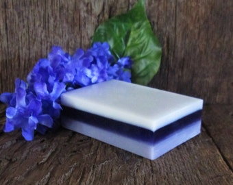 Organic Lilac Spring Shea Butter and Glycerin Layered Soap Bar 4 oz.