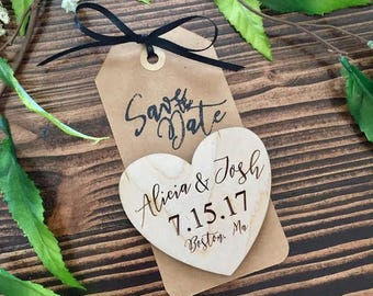 Wood Heart Save The Date Magnets