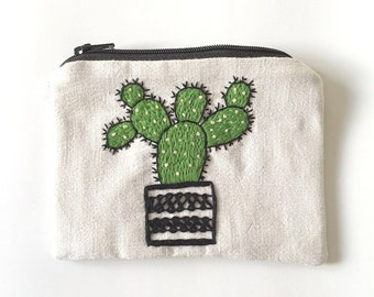 """Embroidered  zipper pouch """"Cactus II"""""""