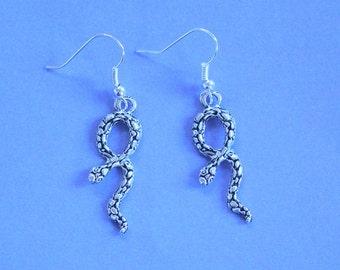 Silver Snake Earrings,Dangly Earrings,Dangly Snake Earrings,Silver Earrings,Snake Earrings,Silver Snake Charm,Snake Jewellery,Snakes