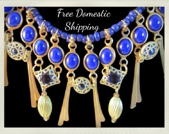 Egyptian Style Necklace, Sapphire Glass Necklace, Antique Style, Bib, Bead Necklace, Up-cycled Jewelry, Blue Necklace, Free US Shipping