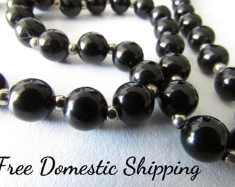 Black Bead Necklace, Vintage Bead Necklace, Black Necklace, Black & Silver Necklace, Beaded Necklace, Black Jewelry, Free US Shipping,