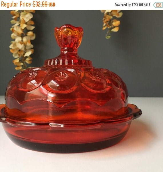 ON SALE Amberina Red LE Smith Moon and Stars Flat Bottom Covered Candy Dish, Vintage Home Decor