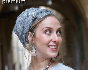 Stately Silver Tichel, SINAR Headscarf, Hair Snood, Head Scarf, Head Covering, Jewish Headcovering, Scarf, Bandana, Apron