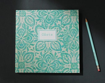 Wedding guestbook, guestbook to the baptism, wedding, high school reunion, christening, summer party, wedding guest book, green white, batik