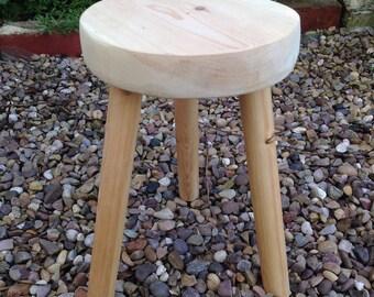 Beautiful three legged  milking stool light pine
