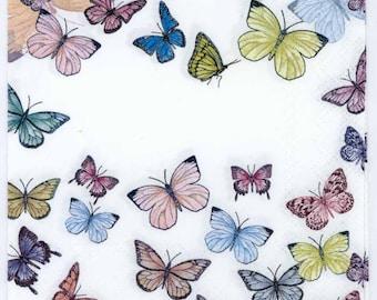 4 Decoupage Napkins | Butterflies on White | Butterfly Napkins | Party Napkins | Paper Napkins for Decoupage