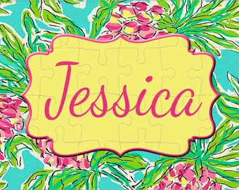 """Pineapple Personalized Puzzle 25 pc. Custom , 11""""x14""""  Tourquoise Fuschia Pink Yellow Green Pineapple background"""