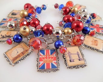 London/Union Jack  Altered Art Charm Bracelet Chunky Beaded Cha Cha Bracelet