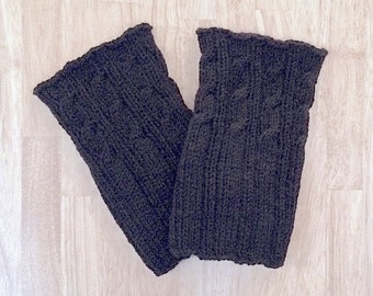 Knit Boot Cuff, Black Boot Toppers, Leg Warmers, Ribbed/Cabled Boot Toppers, Two -Styles-in-One