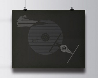 Death Star, vintage, retro, 16x20, 24x36 poster, star wars print, force awakens, rogue one, empire, death star, han solo, deathstar, design