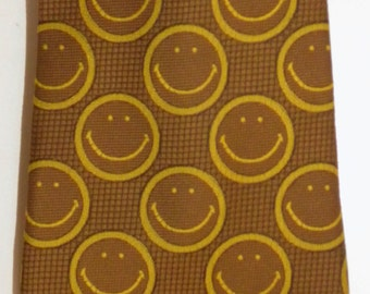 """1970s 70s HAPPY FACE Neck Tie / Have A Nice Day / polyester / Mustard & Gold / Men / Women / 4.25"""" wide"""