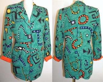 1980's 80s COLORFUL Blazer / Cache Art to wear / Abstract / Oversized / Boxy Fit / Vintage size M