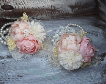 Wedding Corsage Mother of the Bride Corsage Mother of the Groom Corsage Sola Corsage Ivory Sola Dusty Pink Champagne Corsage Prom Corsage