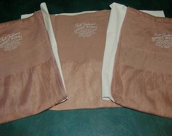 3 pair Vintage OUTSIZE 9 1/2 X 32 seamed nylon stockings sand reenactment plus size