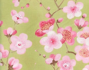 Cherry Blossoms: Leaf Green Asian Japanese Quilt Fabric - By the Half Yard