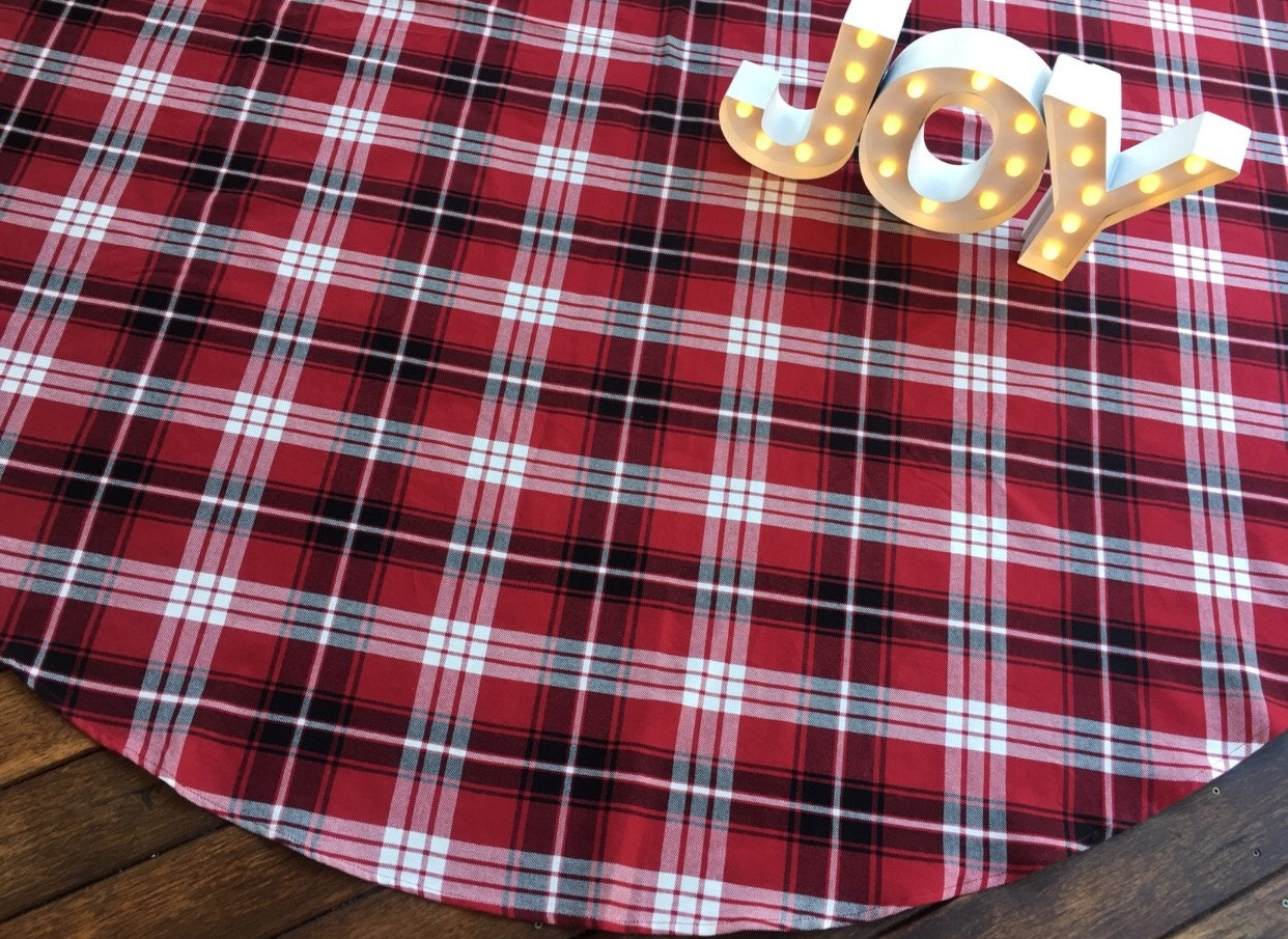 Large Christmas Tree Skirt Plaid Red Tree Skirt By