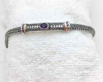 Amethyst Bali Bar Bracelet