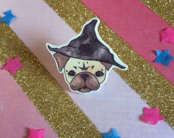 Wizard Pug, Harry Potter jewelry, brooch, puggy potter, halloween gift, pug jewellery, pug gift, witch hat brooch, illustration art brooch