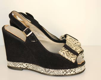 Vintage original 1970s 70s does 1940s 40s suede platform wedge sandals shoes UK 3.5 US 5.5 6