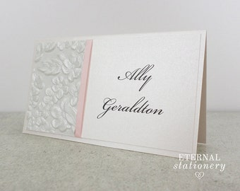 "Modern Place Card - ""Ally"", elegant, embossed, ribbon"