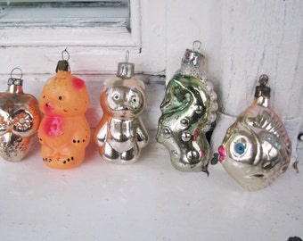Set of 5 Soviet Christmas tree decoration, Animals Mercury Glass Christmas Glass Ornament - Made in USSR