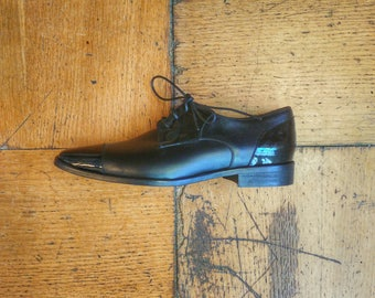 Black Patent & Calf Men's Oxford Shoes - Blue Shoes- Blue Shoes- leather Shoes- blue calf Shoes - blue Shoes for Men- Hand Made Shoes