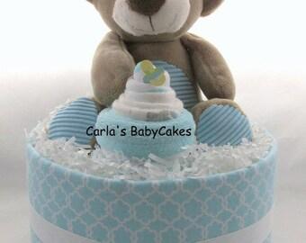 Baby diaper cake   Baby shower gift   Baby sprinkle gift   Baby shower decoration   Teddy bear diaper cake   Neutral baby shower centerpiece