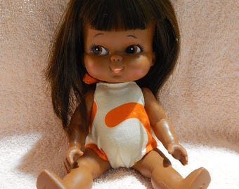 "7 1/2"" Rubber Japan Vintage 1960's African American Doll Bathing Suit"