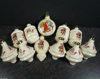 Lot of 11 Vintage Glass Opalescent Santa Ornaments 1960's  All in excellent condition.