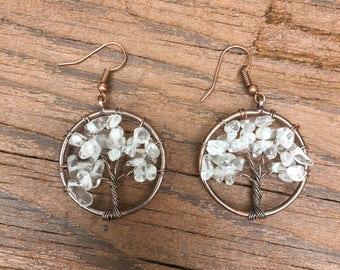 Clear Quartz Tree of Life Earrings
