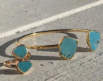 Turquoise Ocean Ring and Bangle Bracelet 14k