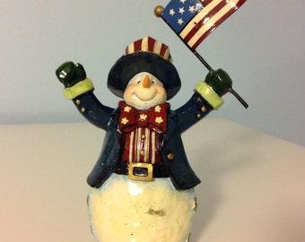 Snowman Ornament Snowman Figurine Christmas Decor Patriotic Ornament
