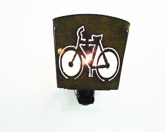 BICYCLE BIKE nightlight night light made of Rustic Rusty Rusted Recycled Metal