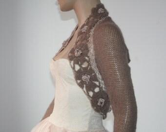 Brown Shrug Crochet Bolero, Knit Cowl Shrug, Lace Shrug, Mohair 3/4 Sleeve Sweater Shrug, Winter Bridal Shrug Bolero Jacket / S - M - L