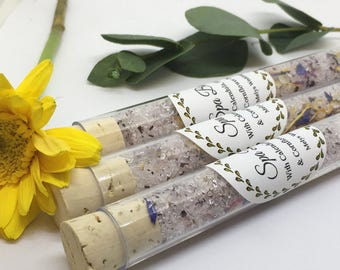 Spa Bath Test Tubes - Spa Bath Salts - Floral Bath salts -  Bridesmaid gift - bridal shower -  wedding favour