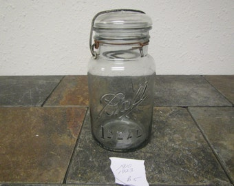 Clear Glass BALL IDEAL JAR, glass cover and wire bail: quart jar,  ,9 on jar bottom , canning jar * 1910 - 1923  * #B-5