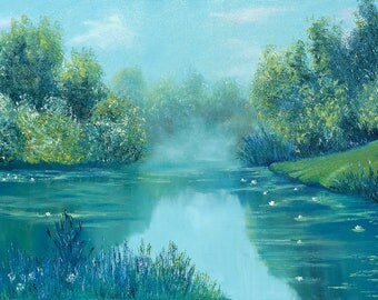 """Landscape Oil Painting Oil Impressionism pallet knife painting Overgrown Pond  36""""x 24"""" by Nataliia Novosad Knife oil painting summer water"""