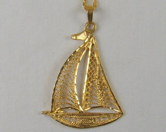 """SALE! 10% OFF ~ Ahoy There! ~ 14K Gold Sailboat Pendant Necklace ~ 20"""" Chain"""