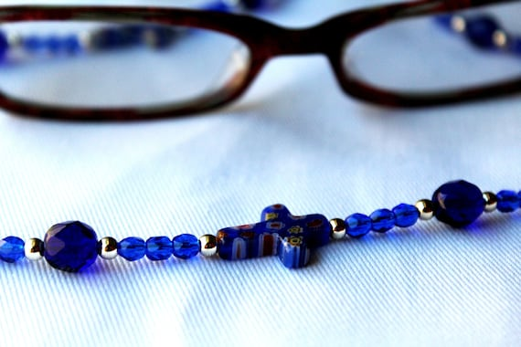 Religious Gift, Blue Glasses Chain, Beaded Chain for Glasses, Religious Cross Beaded Lanyard, Christian Gifts, Bead Eyeglass Chain