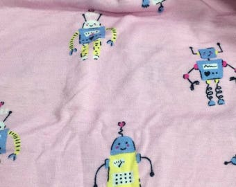 Robot in pink soft lycra modal cotton Fabric 48*170 cm knit DIY fabric 1/2y