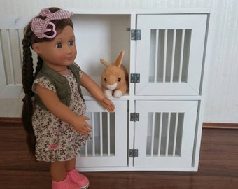 4 compartment Pet Kennel for toys like American Girl Doll Pets