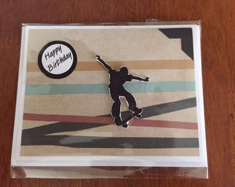 Teen Boy Birthday card, greeting card, handmade, skateboarder, graphic, earth tones, Happy Birthday, One of a Kind card by mamaguccis