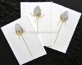 Handmade original cards ink drawing Blank Note Cards Invitation Birthday Thank You Card set of 3