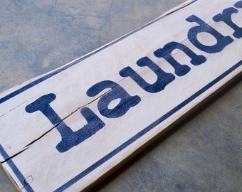 Laundry Room decor, rustic wood sign, distressed white and black antiqued wooden pallet sign 4x19
