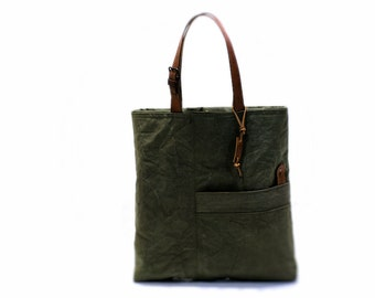 Canvas bag, tote bag, large tote bag, recycled bag, recycled tote bag from Hungarian military duffle bag with leather handles, handbag
