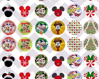 Mickey Mouse Christmas Themed Bottle Cap Cabochon Bubble Images Printable Instant Download
